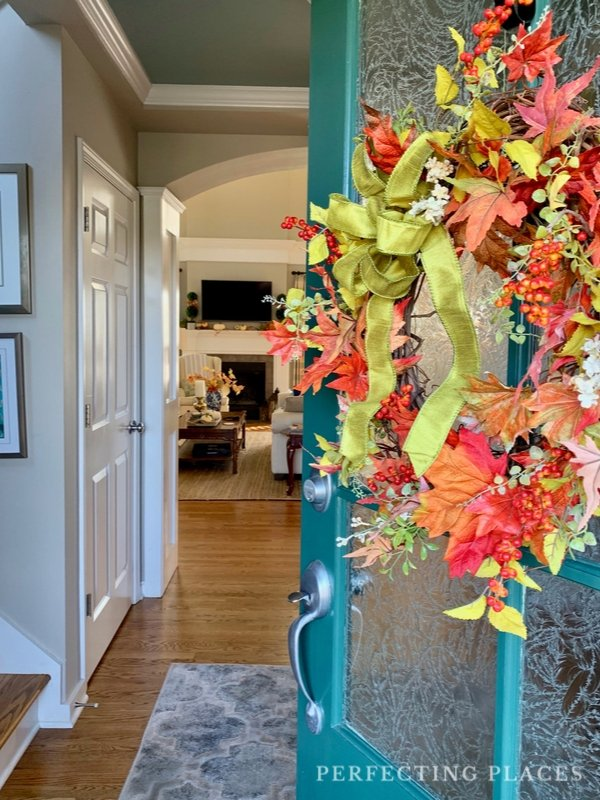 Fall Front Door Wreath Welcome to Our Fall Home Tour