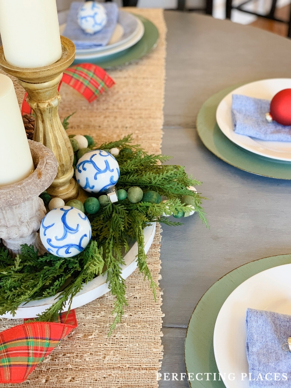 Christmas Centerpiece with Blue and White Ornaments
