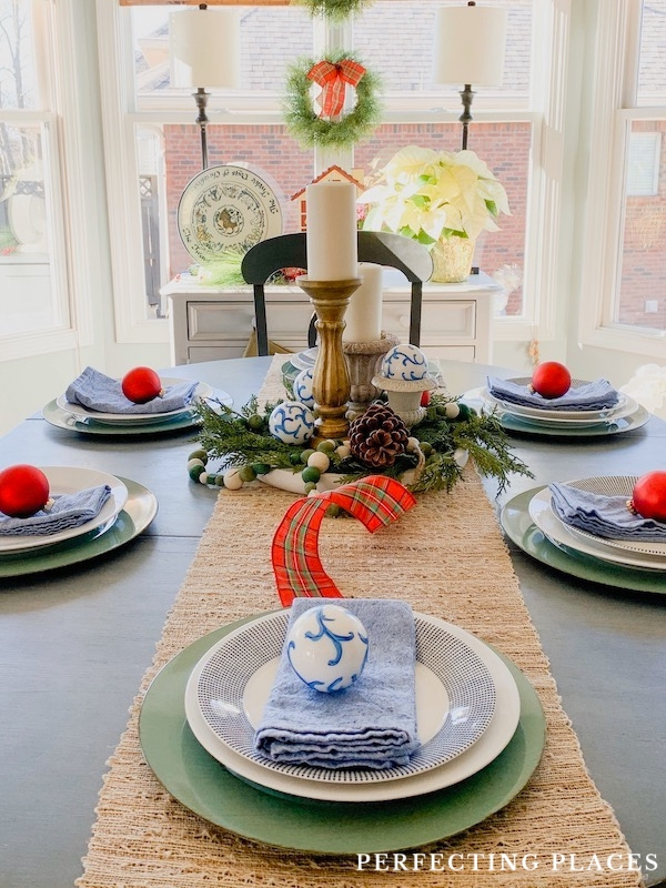Christmas Table Setting with Tartan Plaid and Blue